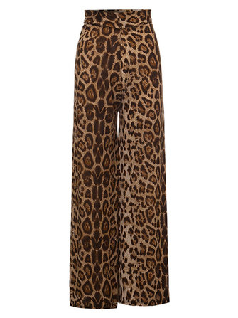 Sexy Slim Women Leopard High Waist Stretch Palazzo Pants