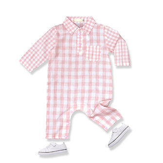 Lovely Baby Plaid One-Pieces Long Sleeve Cotton Suits