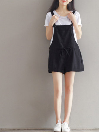 Casual Women Pure Color Drawstring Waist Overall Shorts