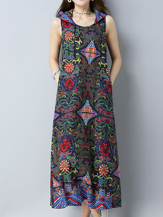 Vintage Women Pattern Printed Sleeveless Hooded Dress