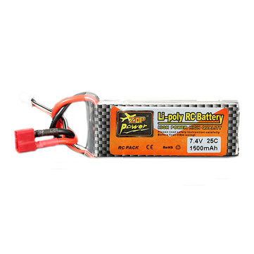 ZOP Power 7.4V 1500mAh 2S 25C Lipo Battery T Plug