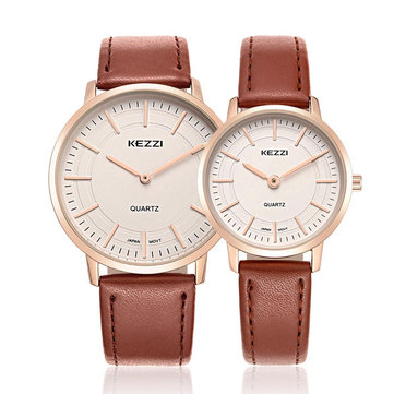 KEZZI 1596 Male Female Lovers Simple Dial Leather Strap Fashion Quartz Couple Watch