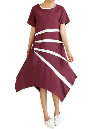 Loose Women Stripe Asymmetric Hem Cotton Linen Dress