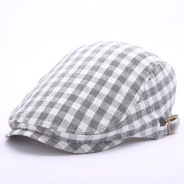 Men Women Summer Cotton Lattice Beret Hats