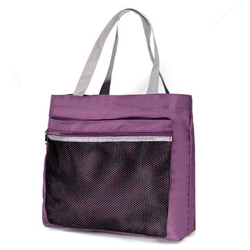 Women Nylon Grid Handbag Light Shoulder Bag Shopping Bag