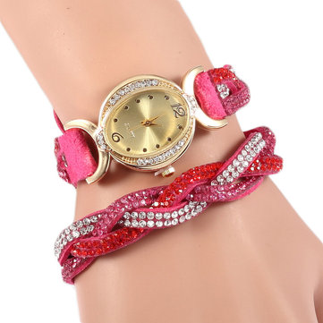 Women Retro Crystals Oval Dial Cross Braided Bracelet Watch