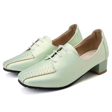 Large Size Women Loafers Square Heel Brogue Shoes