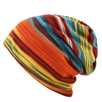 Women Cotton Colorful Stripe Beanie Hat Casual Outdoor Windproof Cap Collar Scarf