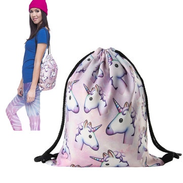 Women Unicorn Printing Drawstring Bag String Travel Gym School Laundry Backpack