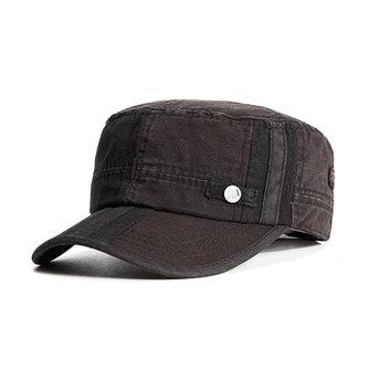 남자 빈티지 씻어 낸 코튼 플랫 탑 모자 야외 선 스크린 군대 군사 야구 모자