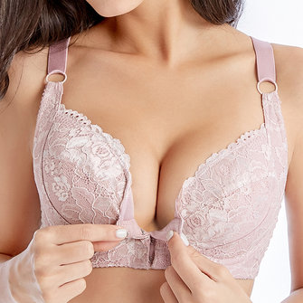 B-DD Cup Ultra Thin Gather Front Closure Minimizer Bra