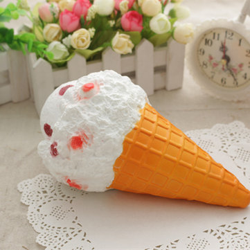 Squishy Jumbo Ice Cream Cone 19cm Slow Rising White Collection Gift Decor Toy