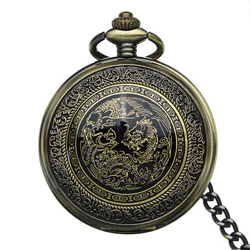 DEFFRUN Retro Elegant Bronze Dragon Alloy Chain Pocket Watch
