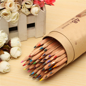 48 Colors Drawing Pencils Set Wooden Art Craft Oil Base Non-toxic Pencils Painting