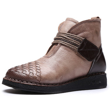 Weave Casual Soft Leather Zipper Ankle Boots