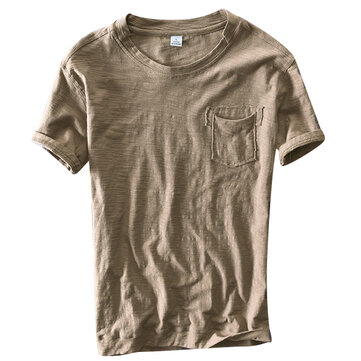 Summer Mens Solid Color O-neck Thin T-Shirts
