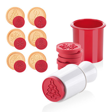 6Pcs Christmas Cookie Stamp Biscuit Mold Cookie Plunger Cutter DIY Baking Mold