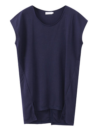 Women Loose Pure Color O-Neck Batting Sleeve Cotton Tank Tops