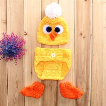 Yellow Duck Crochet Knit Costume Photo Photography Pro Baby Girls Boys