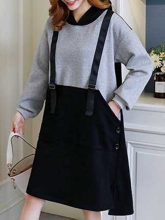 Women Two Pieces Patchwork Thick Sweatshirt Dress