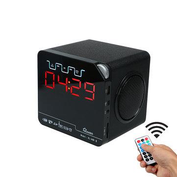 Klivien bluetooth Speaker Portable Wireless FM Radio with Alarm Clock LED Time Display Remote Control Clock
