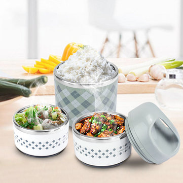 KCASA KC-BCH07 2 Layers Portable Insulation Lunch Box Stainless Steel Thermal Bento Food Container