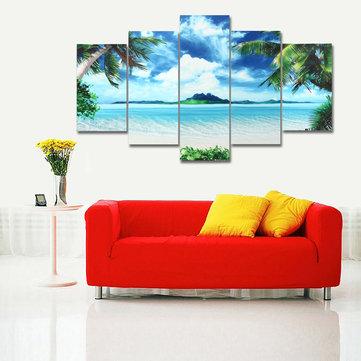 5PCS Canvas Paintings Seascape Beach Printing Modern Home Wall Decor Art