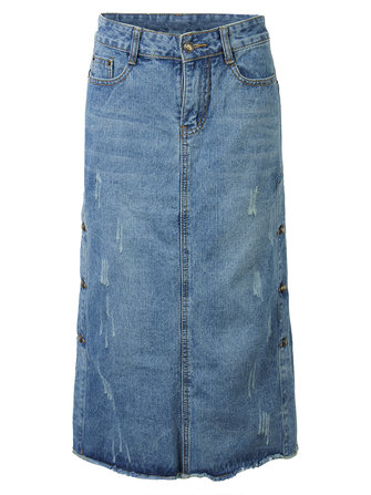 Vintage Women Frayed Button High Waist Split Denim Midi Skirt