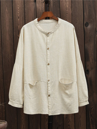 Chinese Style Buttons Linen Cotton Long Sleeve Blouse