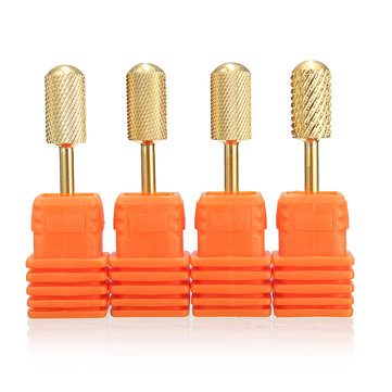 4pcs 3/32'' Gold Carbide Nail Drill Bit Polish File Broach Smooth Top Manicure Tool XC/C/M/F