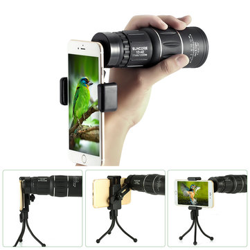 10x52 HD Waterproof Monocular Telescope with Tripod Phone Holder for Smartphone