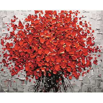 40X50CM Frameless Abstract Red Petals Tree Canvas Linen Canvas Oil Painting DIY Paint By Numbers