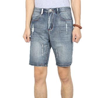 MensVintageHålSommarModeDenim Shorts Casual Jeans
