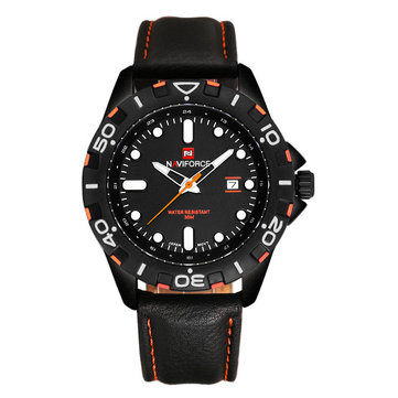 Naviforce 9051 Men PU Leather Band Waterproof Quartz Wrist Watch