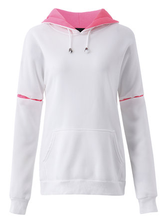 Casual Women Spell Color Raglan Sleeve Pocket Drawstring Hooded Pullover Sweatshirt