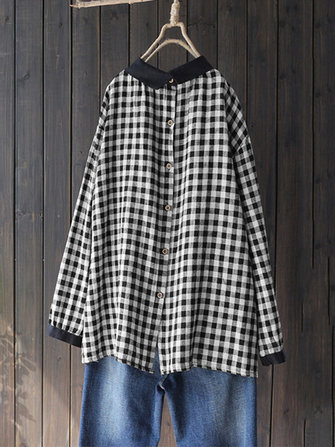 Women Autumn Long Sleeve Buttons Vintage Plaid Blouse