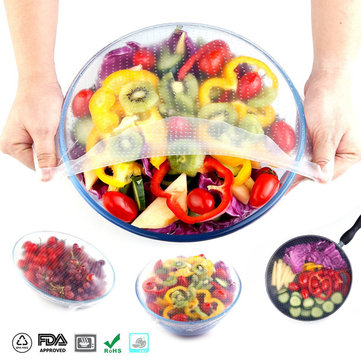 KCASA KC-FPW118 4 Pieces Set Reusable Large Size Silicone Covers and Food Preservation Wrap Durable Kitchen Lids Salad Bowl Covers and Stretch Lids Fruits Preserver