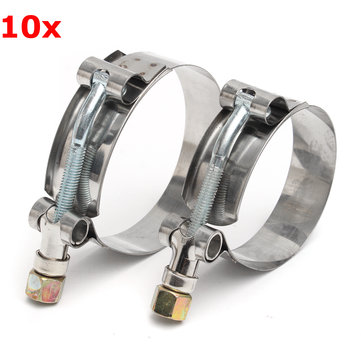 10Pcs Stainless Steel T-Bolt Clamps Clips For Silicone Turbo Pipe Hose Coupler