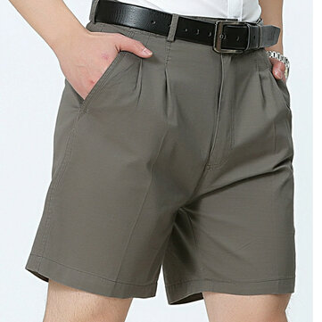Middle Aged Mens Business Casual Golf Shorts Summer Cotton Knee Length Suit Shorts Pants