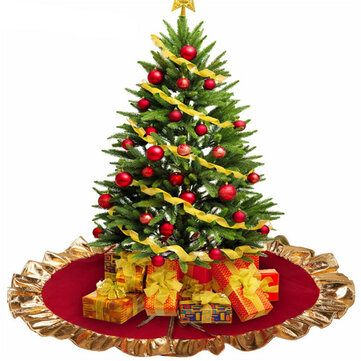 Red Christmas Tree Skirt Ruffle Golden Edge Ornaments Party Decoration