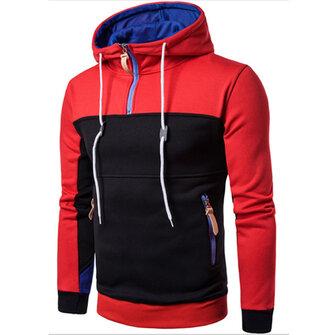 Men's Casual Hit Color Hooded Sweater Fashion Half Zip Hoodie Sweatshirt