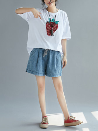 Loose Cotton Half Sleeve Strawberry T-shirts