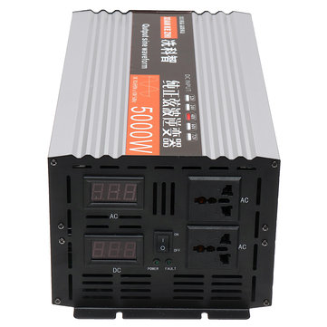 Pure Sine Wave Inverter Dual LED Display 5000W Power Inverter 12V/24/48/ DC To 220V AC