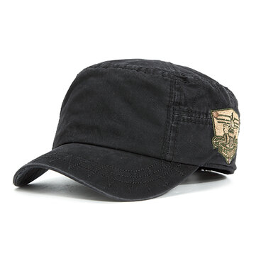 Mens Cotton Embroidered Flat Top Hats Casual Military Sport Visor Baseball Caps