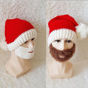 Men Unisex Winter Knitted Santa Claus Beanie Hats Skull Face Mask For Christmas Gift