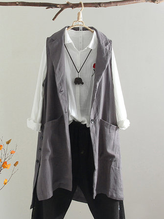 Plus Size Vintage Women Sleeveless Button Open Front Jacket Outwear