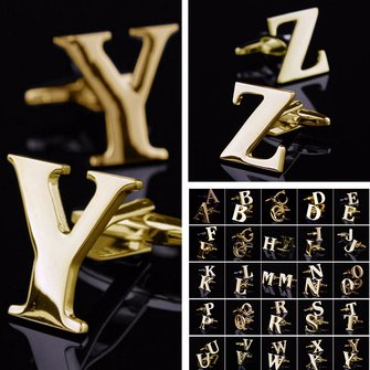Men Gold Initials Letters Cuff Links Vintage Stainless Steel Business Gift Suit Shirt Accessories