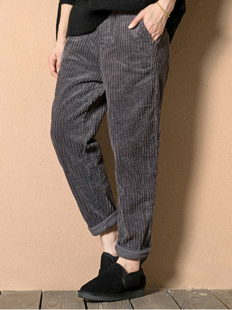 M-5XL Casual Loose Solid Color Elastic Waist Harem Corduroy Pants for Women