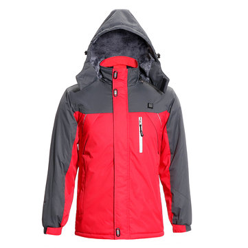 USB Heated Warm Winter Hooded Jacket Coral Fleece Motorcycle Skiing Riding Coat Mountaineering Suit Red
