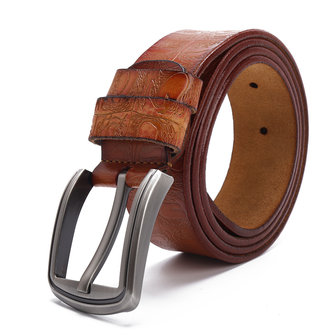 125CM Mens Business Dress Cow Leather Belt Special Printting Belt with Anti-Scratch Buckle
